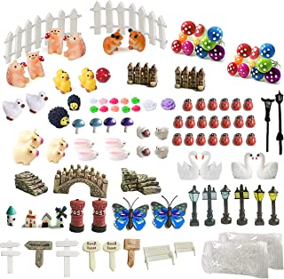 ZJW 112 Pieces Fairy Garden Accessories Decorations Kit, Vivid and Cute Detailed Miniatures, Loved by Children for DIY Ter...