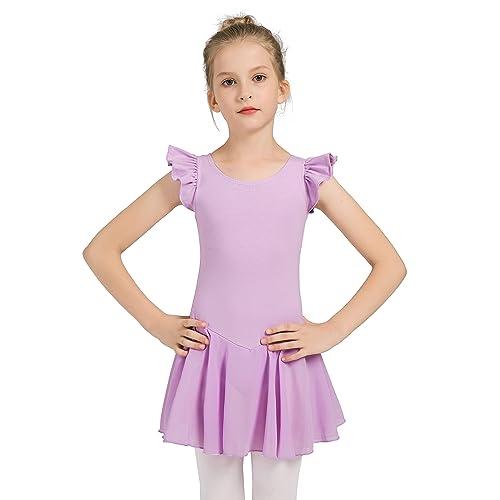eefdee52f12e0d Girls Dance Ballet Leotard Flying Short Sleeve Flowy Tutu Skirt Children  Cotton Dress Dancewear