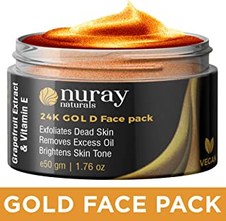 Nuray Naturals Vegan 24k Gold Face Pack Mask for Fairness, Glow and Skin Tightening, 50 g