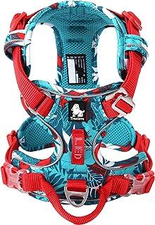 Vlaneriy Hundegeschirr Explosionsgeschützter für Kleine, Mittelgroße, Große Hunde, Reflectives Dog Harness Weich Gepolstert Atmungsaktiv Gurt Tarnung Lila/Blau