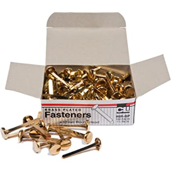 Round Head Fasteners 1//2 Inch Shank Brass Plated 8 mm Head 100//Pack