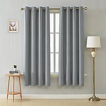 مجموعة ستائر نافذة جروميت ناعمة لغرفة النوم من ديكونوفو، 132 سم × 213 سم، رمادي فاتح