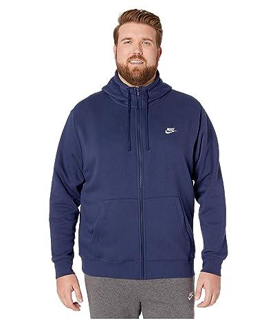 Nike Big Tall NSW Club Hoodie Full Zip (Midnight Navy/Midnight Navy/White) Men