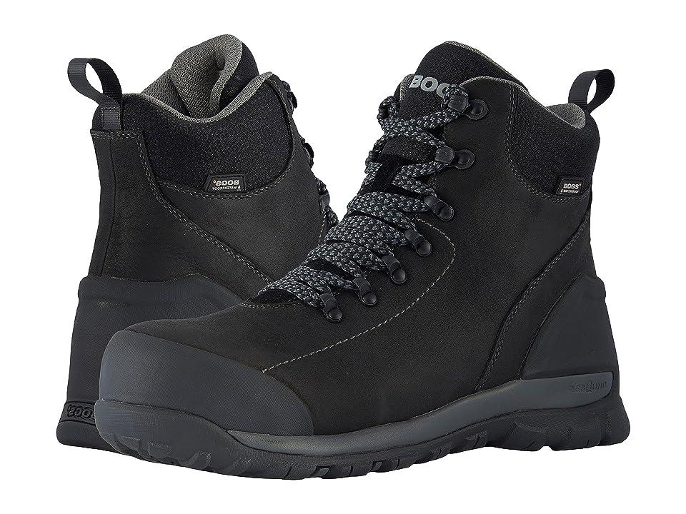 Bogs Foundation Leather WP Mid Comp Toe (Black) Men