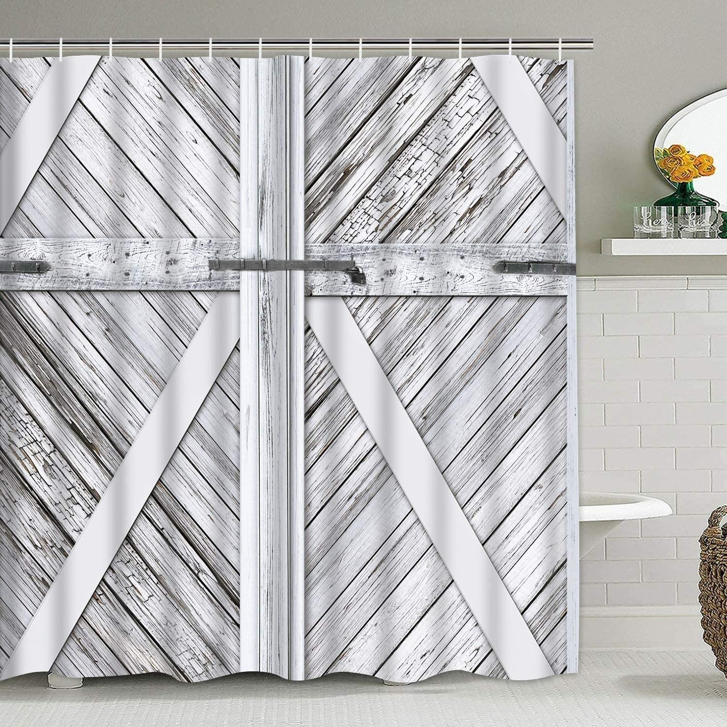 MISC Polyester Shower Curtain with Hooks Oklahoma City Mall Door Grey X Barn Some reservation 72