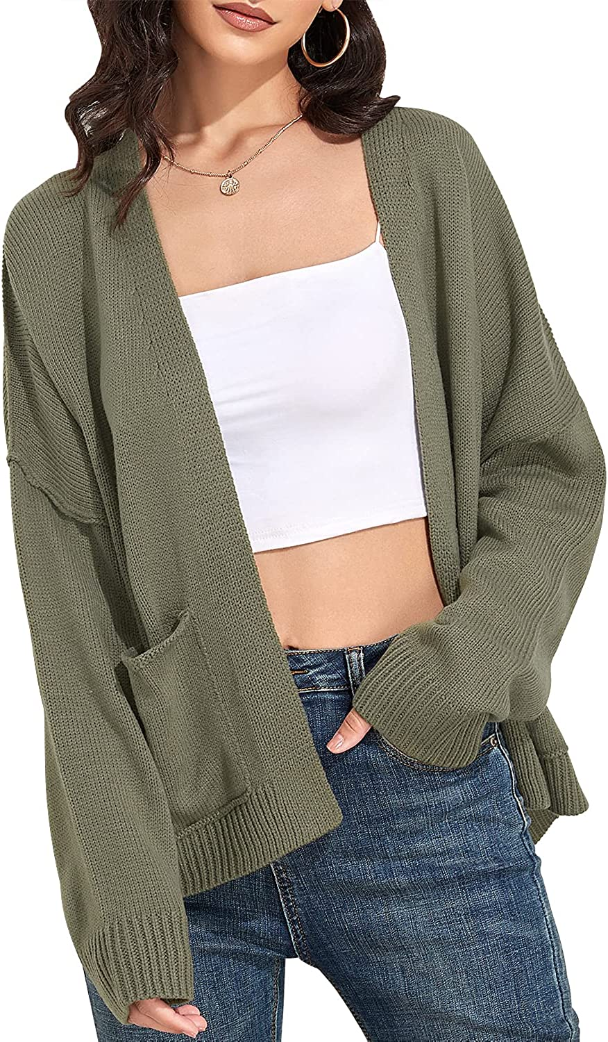 Carpetcom Women's Casual Loose Long Sleeve Drop Shoulder Open Front Knit Cardigan Sweater with Pockets