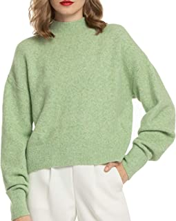 Women Lightweight Sweater Mock Neck Oversized Loose Winter Sweaters Pullover Long Sleeve Casual Fall Crop Tops