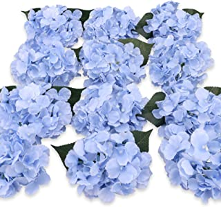 Felice Arts Silk Hydrangea Heads with Stems Artificial Flowers for DIY Bouquets Wedding Party Home Decor,Pack of 12(Blue)