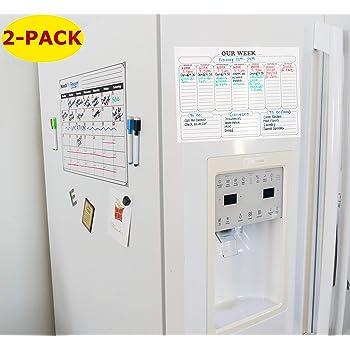 Magnetic Fridge Calendar Whiteboard Planner for Refrigerator Dry Erase Calendar 2019 Monthly /& Weekly Set
