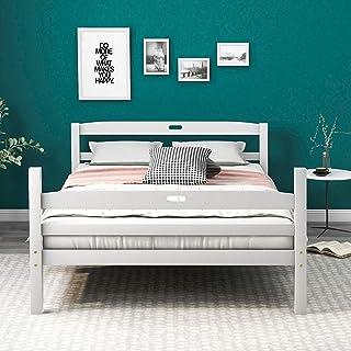 Lit double en bois massif avec sommier à lattes, tête de lit avec poignée, pour enfants, adolescents et adultes, blanc (20...