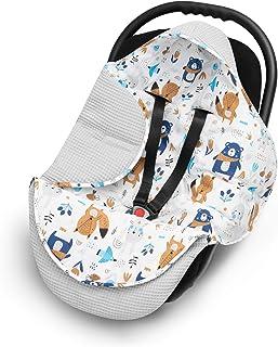 EliMeli EliMeli EINSCHLAGDECKE für Babyschale Baby Decke für Autositz und Kinderwagen aus Waffelstoff und Baumwolle mit Füllung, universal z.B. Maxi Cosi Kinderwagendecke Grau - Waldtiere