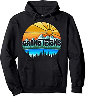 Grand Tetons National Park Graphic Vintage Style Pullover Hoodie