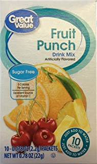 Great Value Sugar Free, Low Calorie Fruit Punch Drink Mix (Pack of 4)