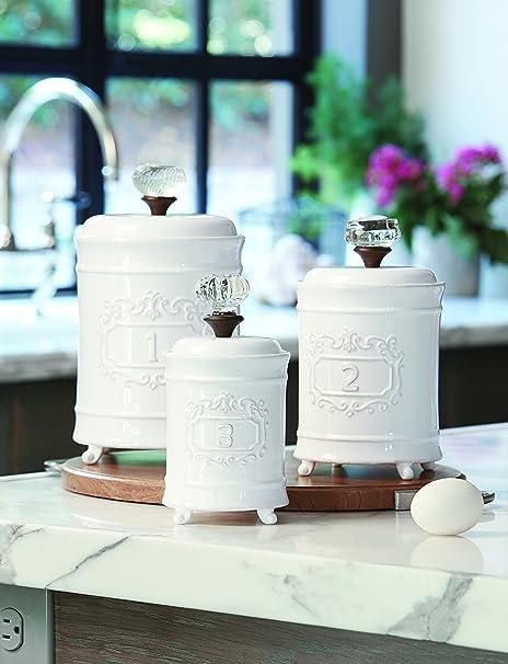 Amazon Com Mud Pie Kitchen Canister Set Of 3 White Kitchen Dining