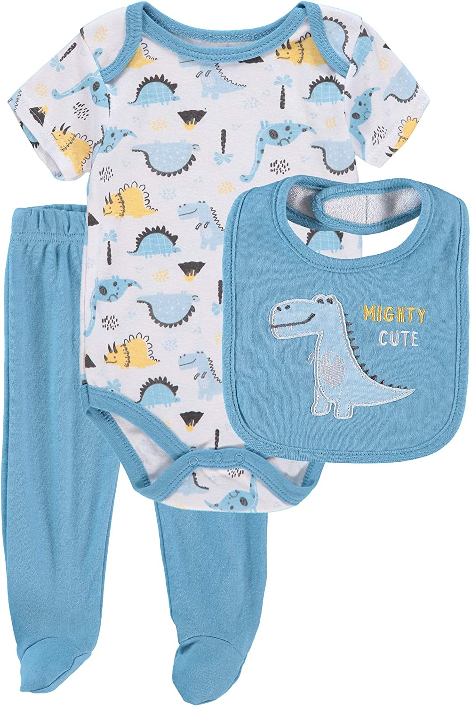 Bon Bebe Baby Boy and Baby Girl Unisex Baby 3-Piece Bodysuit Pant Set with Bib