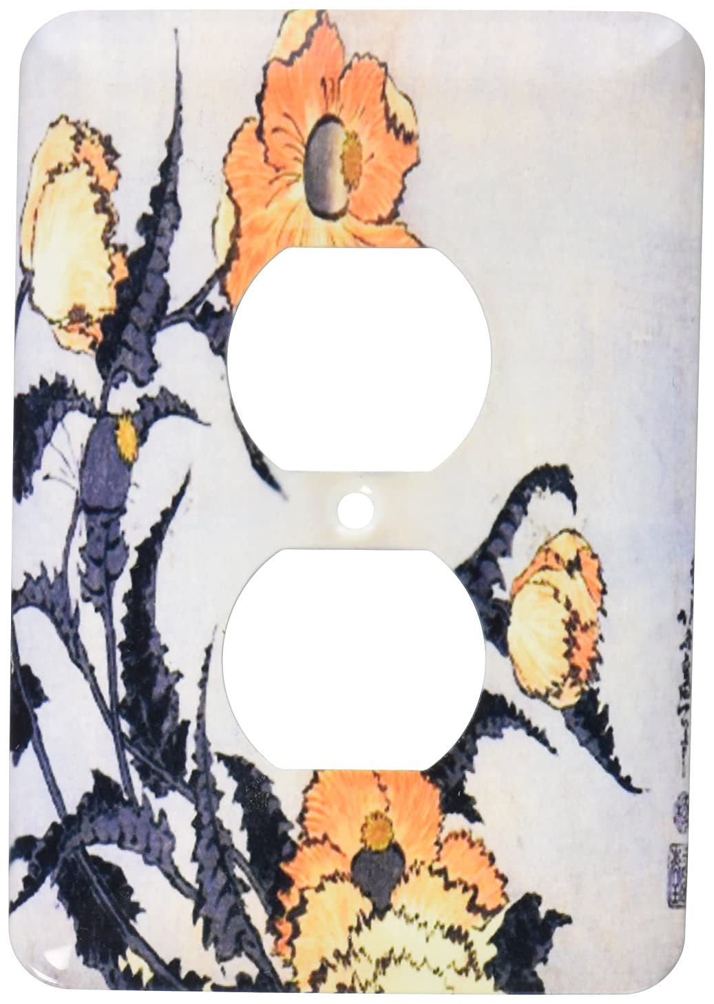 3dRose lsp_163306_6  Image of Japanese Painting of Orange Gold Poppy Flowers with Text 2 Plug Outlet Cover