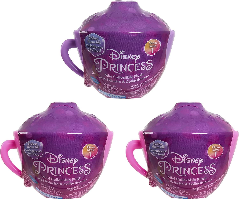 Disney Princess Mini Teacup Capsule Plush, 3-Pack Set, Collectible Mini...