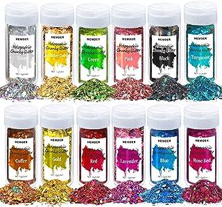HEMOER Holografische Chunky Glitters Nagel Pailletten, 12 kleuren 144g dikke pailletten glitter set voor gezicht, lichaam,...