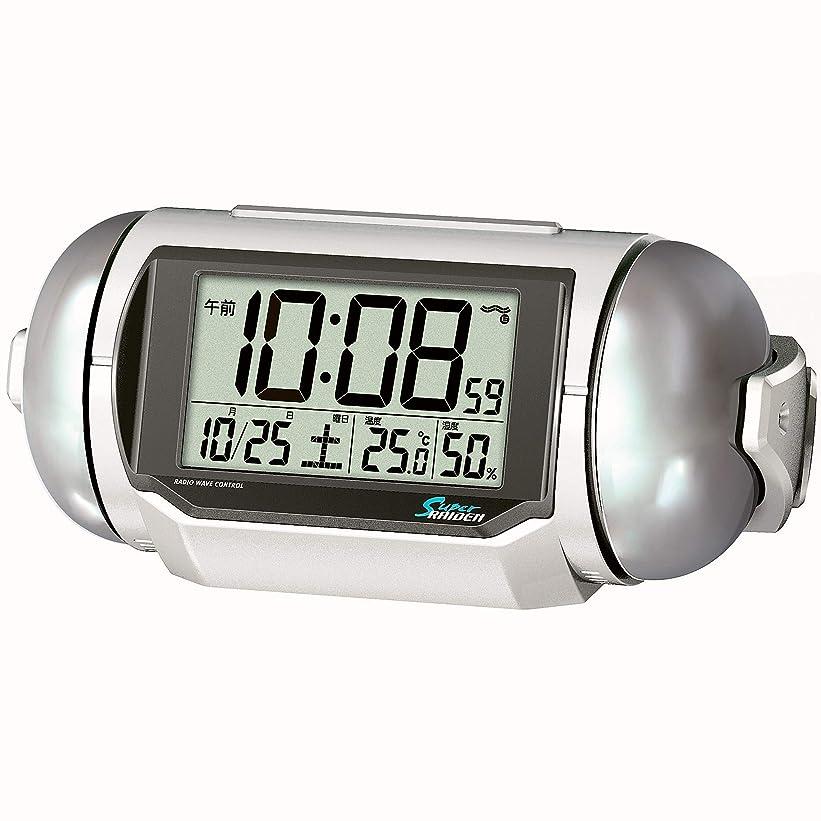 ネコ奪うホールドセイコークロック 置き時計 02:白パール 本体サイズ:9.8×22.2.×12.5cm 電波 デジタル 大音量 PYXIS ピクシス BC401W