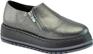Lynda Top Selling Back to School Sale Slip On Platform Oxford Shoe for Women Black Grey Rose Gold Assorted Colors