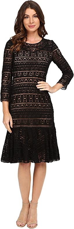 Stained Glass Lace Long Sleeve Dress