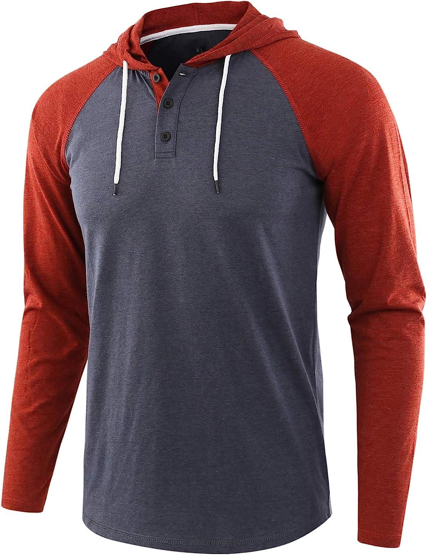 Jhsnjnr Mens Casual Henley Hoodies Solid Color Raglan Sweatshirts Long Sleeve Cotton Hooded Shirt
