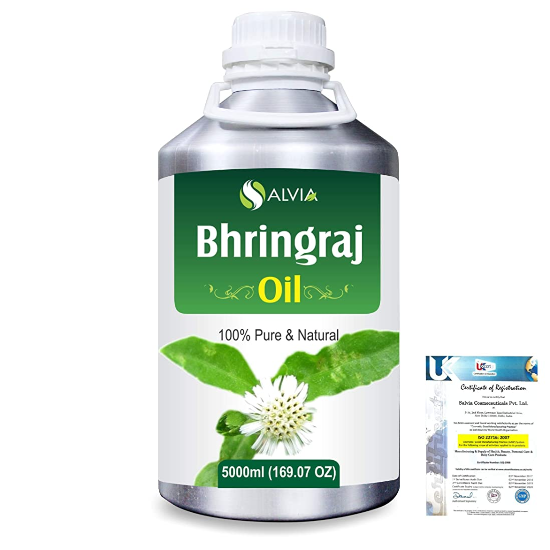 わかる韻生き返らせるBhringraj 100% Natural Pure Oil 5000ml/169fl.oz.