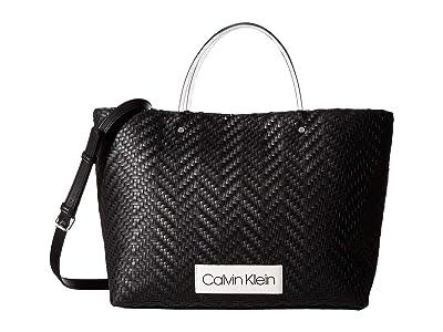 Calvin Klein Morgan Woven Novelty Medium Tote (Black) Handbags