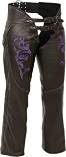Milwaukee ML1187-BLK/PUR-3X Women's Leather Chaps, 3X-Large, Black/Purple