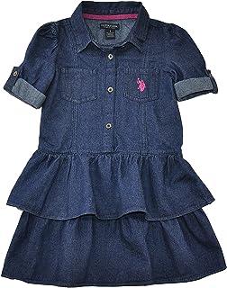 U.S. Polo Assn. Little Girls' Denim Ruffle Tiered Dress