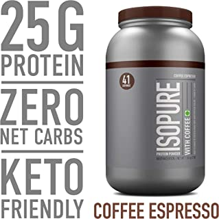 Isopure with Coffee Protein Powder, Keto Friendly, 100% Whey Protein Isolate, Flavor: Espresso, 3 Pounds