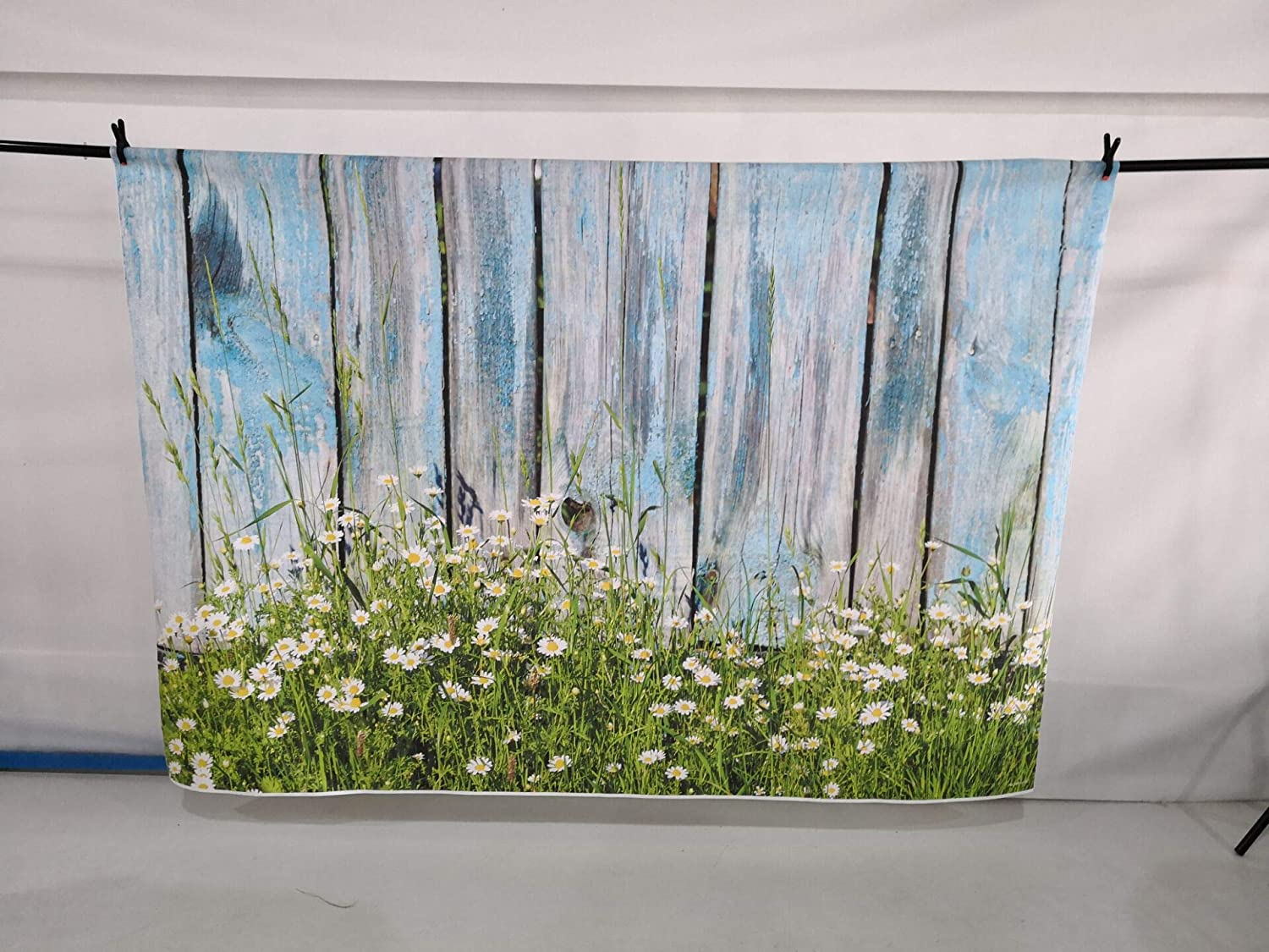 Funnytree 8x6ft Soft Fabric Spring Blue Wood Photography Backdrops Grass Daisy Flower Wooden Board Plank Easter Grass Background Pictures Party Banner Decorations Photo Studio Photobooth Props