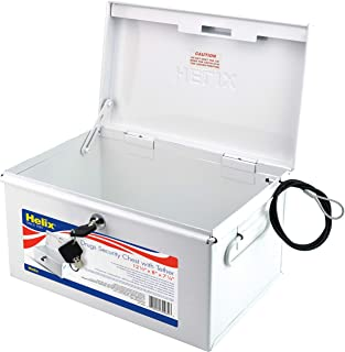 Helix Locking Prescription Drug Security Chest with Tether, Heavy-Duty Steel Construction, White (32480)