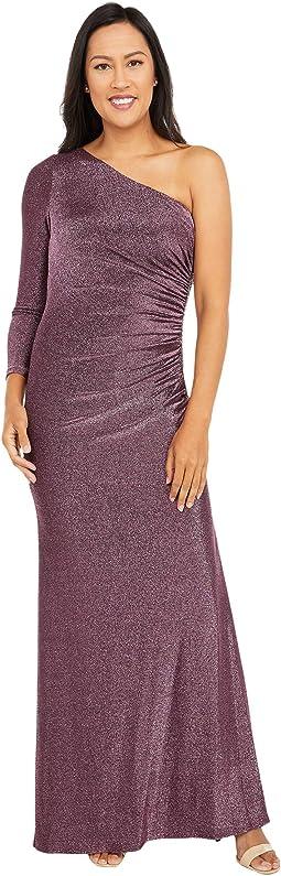 One Shoulder Metallic Knit Side Draped Mermaid Gown