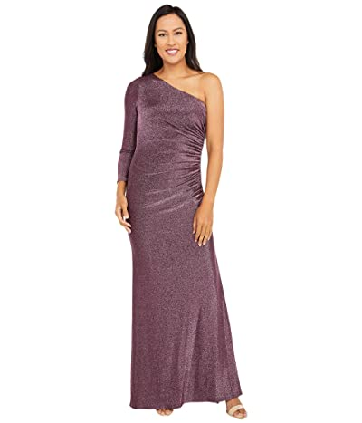 Adrianna Papell One Shoulder Metallic Knit Side Draped Mermaid Gown