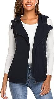 Women's Sleeveless Hooded Vest Casual Slim Fleece Waistcoat Jacket Coat Tops with Pocket