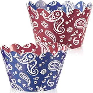 48 Pieces Bandana Cupcake Wrappers Western Cowboy Cake Decorations for Farm Animal Party Barn Wedding