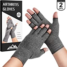 2-Pairs SupreGear Arthritis Gloves, Rheumatoid Arthritis Compression Gloves for Arthritis Hands, Pain Relief Gaming Typing Fingerless Gloves for Women Men (Grey – 2 Pairs, L)