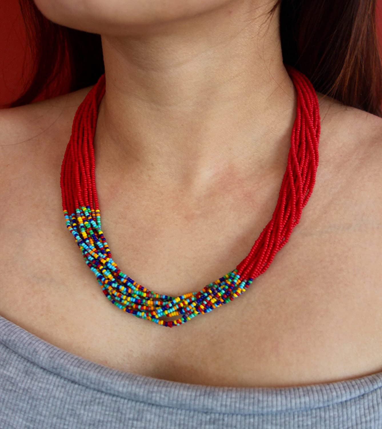 Matte Red with Mixed New mail order Beads Fort Worth Mall Seed Strand Accent Multi