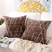 MERNETTE Pack of 2, Chenille Soft Decorative Square Throw Pillow Cover Cushion Covers Pillowcase, Home Decor Decorations for Sofa Couch Bed Chair 18x18 Inch/45x45 cm (Dark Brown)