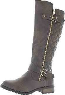 حذاء برقبة لركوب الخيل بسحاب مبطن ماركة Forever Link للسيدات مانجو-21، بني ضيق، 8