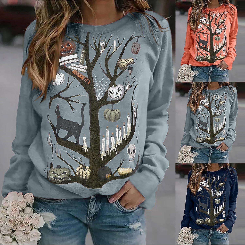 Halloween Sweatshirts for Women, Womens Fashion Long Sleeve Pumpkin Print Sweatshirt Pullover Tops Blouse Shirts