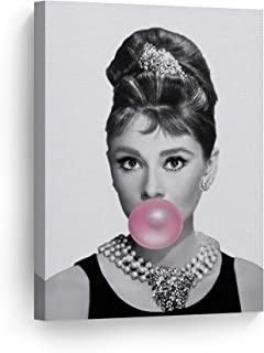 Smile Art Design Audrey Hepburn Bubble Gum Chewing Gum Black and White Canvas Print Pop Art Home Decor/Iconic Wall Art/Gallery Wrapped Canvas Art Stretched/Ready to Hang (12 x 8)