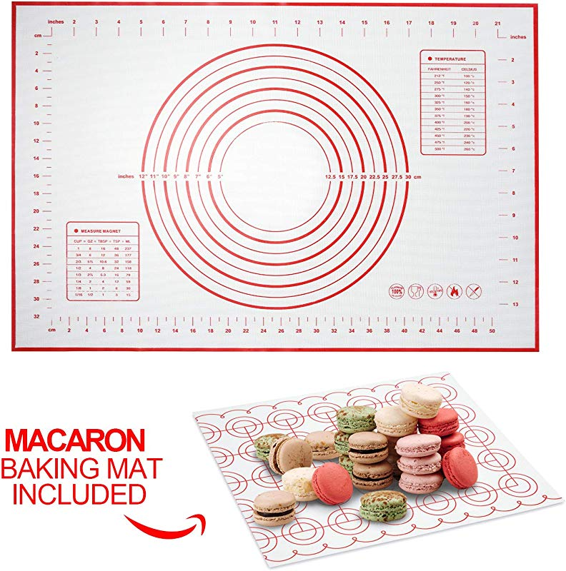 MISSALIS Silicone Pastry Mat For Rolling Dough Non Slip Non Stick Baking Mat With Measurement For Macaron Pie Crust Bread And Cookies