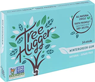 Tree Hugger Wintergreen Sugar Free Real Chicle Gum Sweetened with 100% Xylitol, 14Count (Pack of 12)