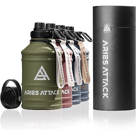 ARIES ATTACK - Borraccia in acciaio inox da 2 l, con 2 chiusure, senza BPA, stabile e a prova di perdite, 2,2 l, per fitness, crossfit, palestra e attività all'aperto, adatta all'anidride carbonica