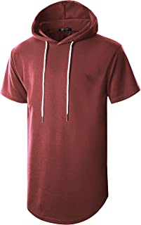 GIVON Mens Hipster Simple Longline Lightweight Pullover Long Sleeve Hooded Shirt