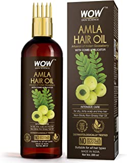 WOW Skin Science Amla Hair Oil - Pure Cold Pressed Indian Gooseberry Oil - Intensive Hair Care - With Comb Applicator - No...
