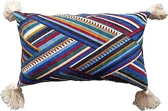 Flber Decorative Lumbar Pillow Tassel Velvet Throw Pillow,12X20