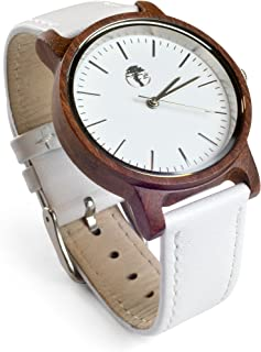 Real Sandalwood Watch White Face and Leather Band